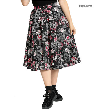 Hell Bunny Pin Up 50s Black Skirt MUSHU Chinese Dragon Oriental Roses All Sizes