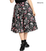 Hell Bunny Pin Up 50s Black Skirt MUSHU Chinese Dragon Oriental Roses All Sizes Thumbnail 1