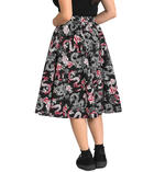 Hell Bunny Pin Up 50s Black Skirt MUSHU Chinese Dragon Oriental Roses All Sizes Thumbnail 4