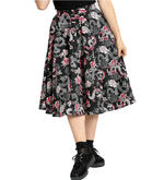 Hell Bunny Pin Up 50s Black Skirt MUSHU Chinese Dragon Oriental Roses All Sizes Thumbnail 2