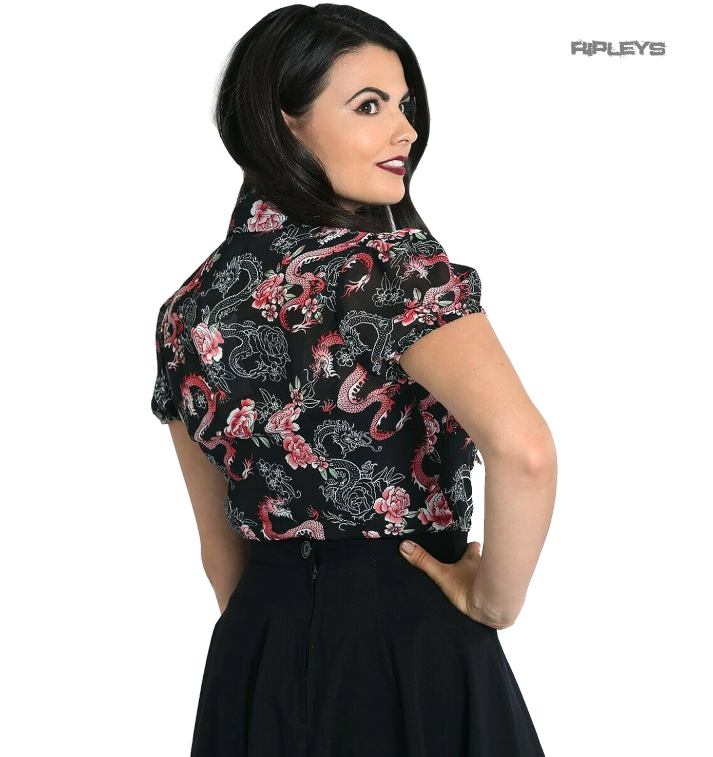 Hell-Bunny-Shirt-Black-Top-Oriental-MUSHU-Blouse-Chinese-Dragon-Roses-All-Sizes thumbnail 4