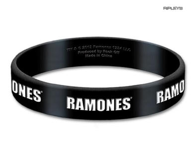 Official THE RAMONES Black Silicone Wristband Punk Rock LOGO Gift