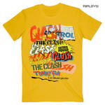 Official T Shirt THE CLASH Vintage Punk 'Singles Collage Text' Yellow All Sizes Thumbnail 1