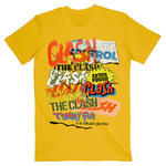 Official T Shirt THE CLASH Vintage Punk 'Singles Collage Text' Yellow All Sizes Thumbnail 2
