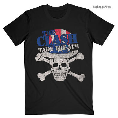 Official Black Vintage T Shirt THE CLASH Punk 'Take The 5th' Skull All Sizes Preview