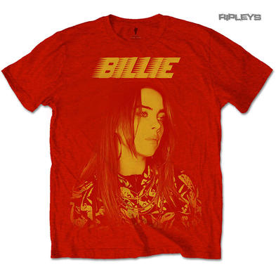 Official T Shirt BILLIE EILISH 'Racer' Logo Jumbo Red All Sizes