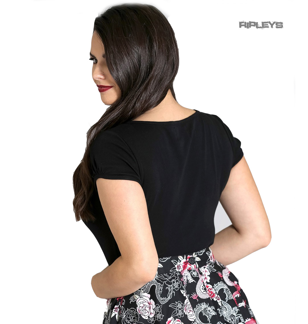 Hell-Bunny-Shirt-50s-Rockabilly-Top-MIA-Plain-Black-Short-Sleeves-All-Sizes thumbnail 46