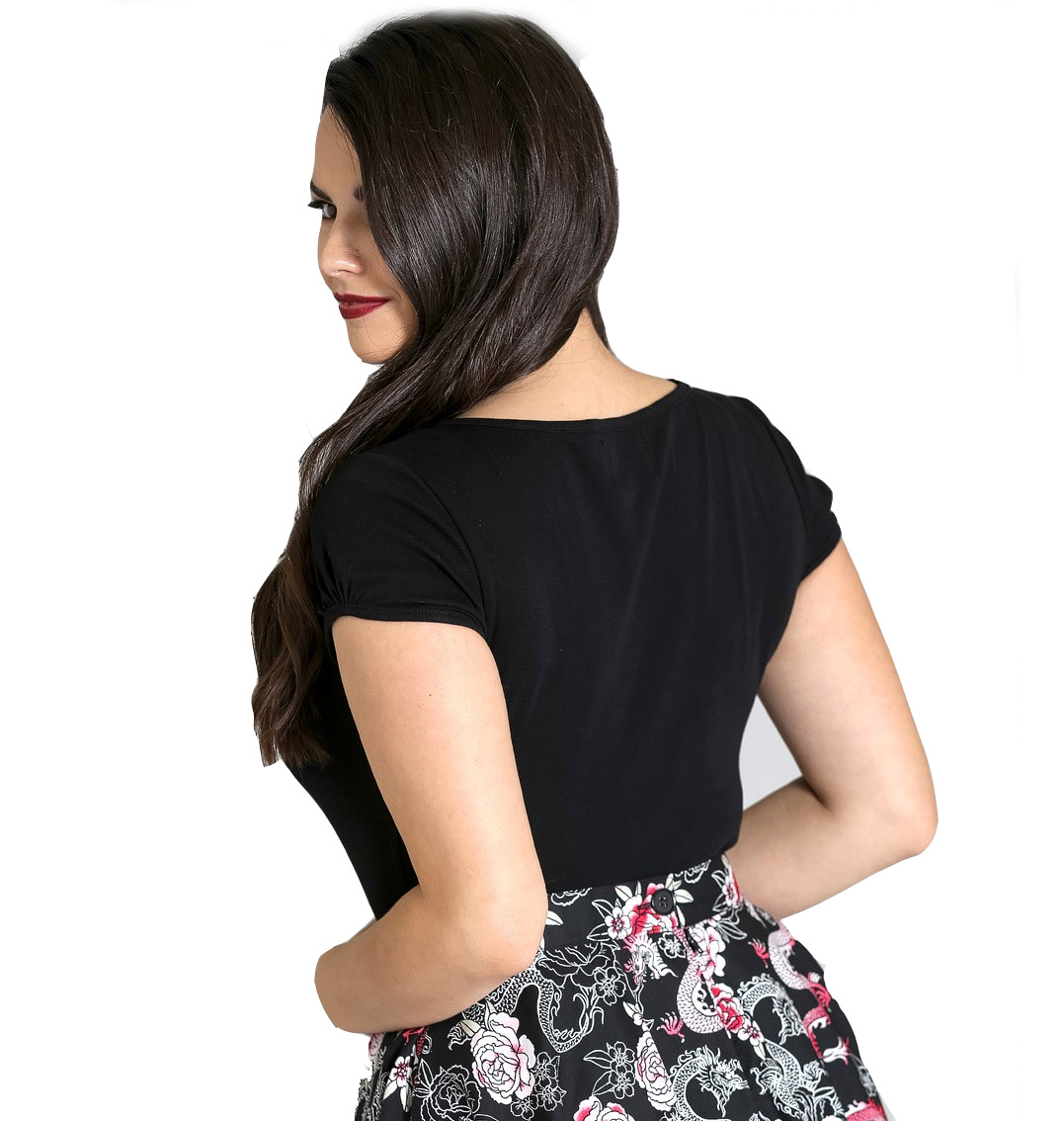Hell-Bunny-Shirt-50s-Rockabilly-Top-MIA-Plain-Black-Short-Sleeves-All-Sizes thumbnail 29