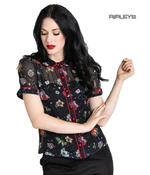 Hell Bunny Shirt Top Black LOVEBIRD Blouse Retro Vintage Flowers All Sizes Thumbnail 1