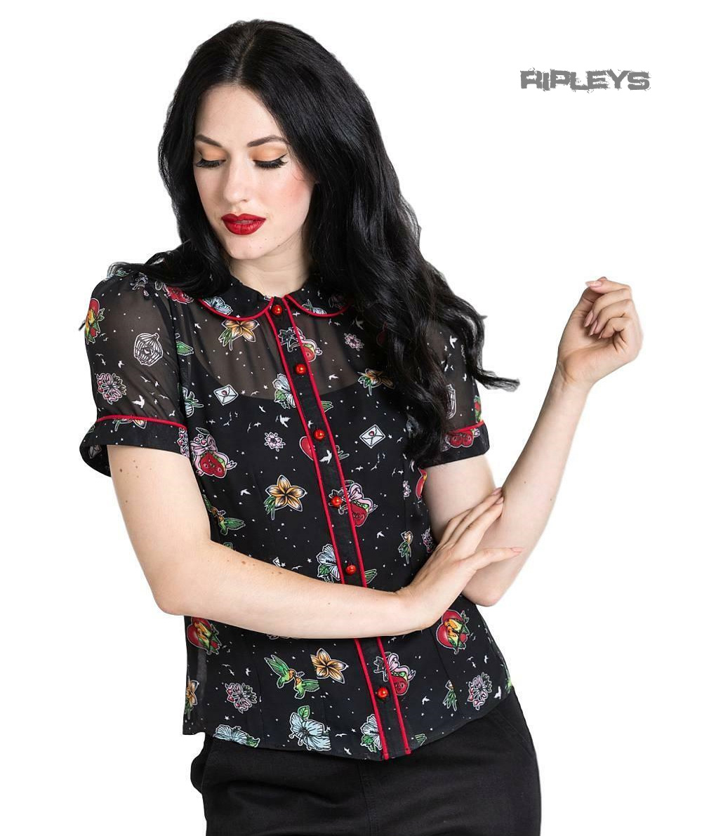 Hell-Bunny-Shirt-Top-Black-LOVEBIRD-Blouse-Retro-Vintage-Flowers-All-Sizes thumbnail 2