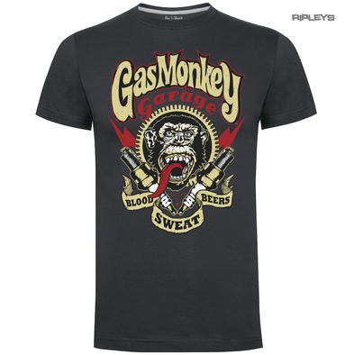 Official KYD T Shirt GMG Gas Monkey Garage Hot Rod 'Sparkplugs' Grey All Sizes