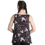 Hell Bunny Black Vest Cami Top Gothic Witch JAS Sphynx Cats Crucifix All Sizes Thumbnail 4