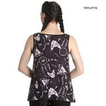 Hell Bunny Black Vest Cami Top Gothic Witch JAS Sphynx Cats Crucifix All Sizes Thumbnail 3
