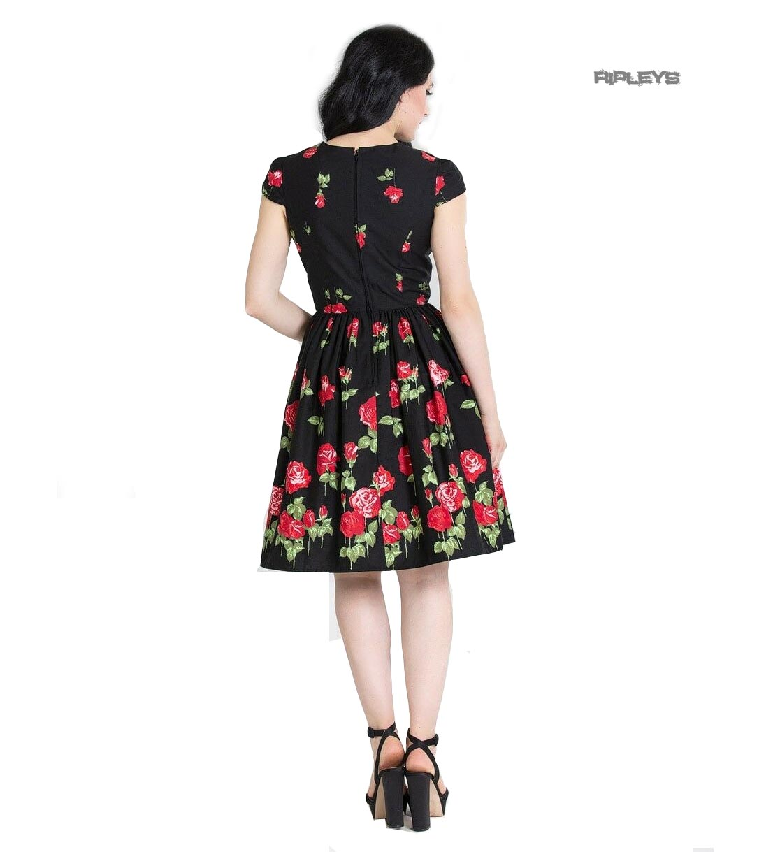 Hell-Bunny-Pin-Up-Mid-Length-50s-Dress-ANTONIA-Rose-Floral-Black thumbnail 4