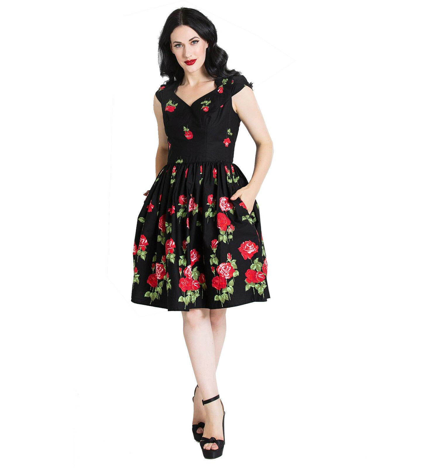 Hell-Bunny-Pin-Up-Mid-Length-50s-Dress-ANTONIA-Rose-Floral-Black thumbnail 3