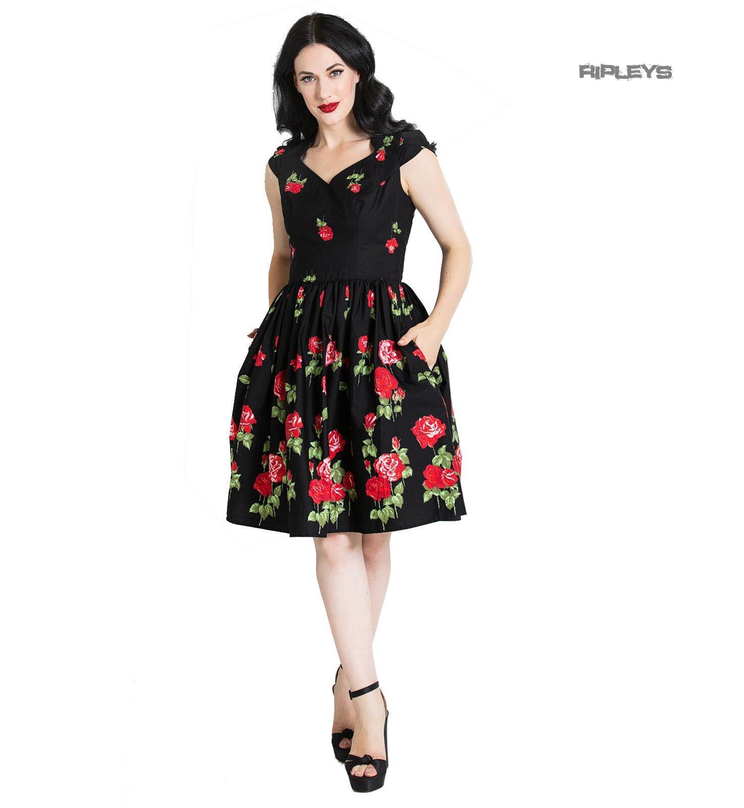 Hell-Bunny-Pin-Up-Mid-Length-50s-Dress-ANTONIA-Rose-Floral-Black thumbnail 2