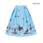 Hell Bunny Spring Easter 50s Pin Up Skirt COTTON TAIL Blue Rabbits All Sizes  Thumbnail 1