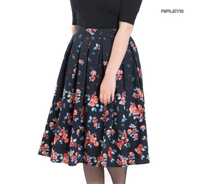 Hell Bunny Vintage 40s 50s Pin Up Skirt ELLEN Navy Blue Roses Flowers All Sizes