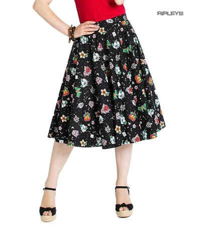 Hell Bunny 50s Skirt Vintage Rockabilly LOVEBIRD Retro Hearts Birds All Sizes