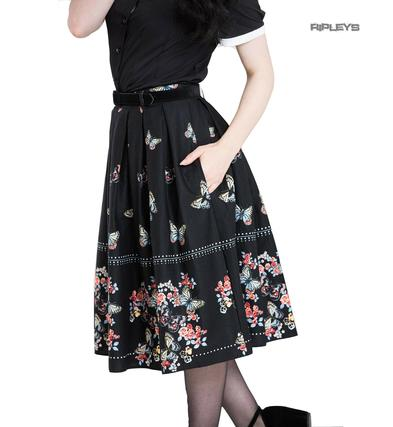 Hell Bunny 50s Pin Up Vintage Skirt LAETICIA Black Flowers Butterfly All Sizes