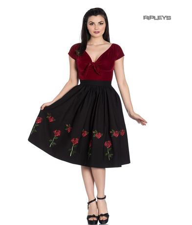 Hell Bunny 50s Skirt Vintage Rockabilly ROSA ROSSA Roses Black All Sizes Preview