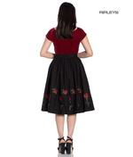 Hell Bunny 50s Skirt Vintage Rockabilly ROSA ROSSA Roses Black All Sizes Thumbnail 3