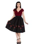 Hell Bunny 50s Skirt Vintage Rockabilly ROSA ROSSA Roses Black All Sizes Thumbnail 2