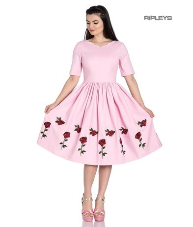 Hell Bunny 50s Dress Vintage Rockabilly ROSA ROSSA Roses Baby Pink All Sizes