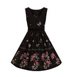 Hell Bunny 50s Mid Length Dress Black LAETICIA Butterfly Flowers All Sizes Thumbnail 6
