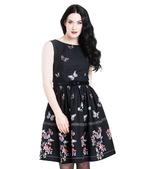 Hell Bunny 50s Mid Length Dress Black LAETICIA Butterfly Flowers All Sizes Thumbnail 2