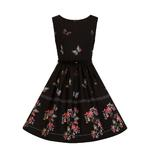 Hell Bunny 50s Mid Length Dress Black LAETICIA Butterfly Flowers All Sizes Thumbnail 4