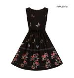 Hell Bunny 50s Mid Length Dress Black LAETICIA Butterfly Flowers All Sizes Thumbnail 3