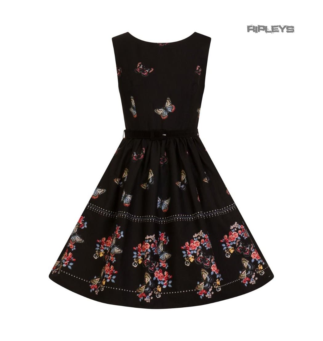 Hell-Bunny-50s-Mid-Length-Dress-Black-LAETICIA-Butterfly-Flowers-All-Sizes thumbnail 16