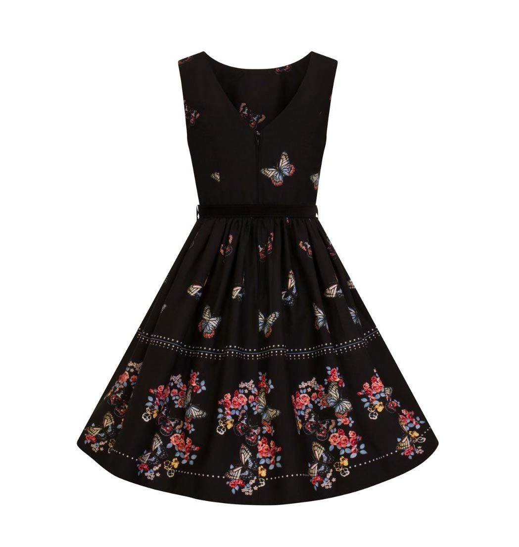Hell-Bunny-50s-Mid-Length-Dress-Black-LAETICIA-Butterfly-Flowers-All-Sizes thumbnail 13