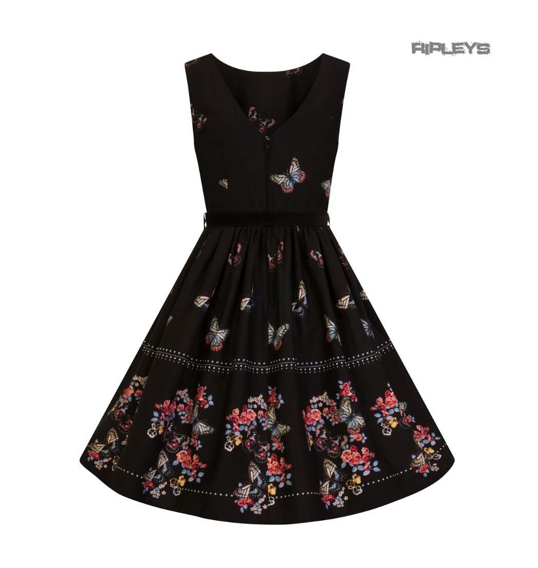 Hell-Bunny-50s-Mid-Length-Dress-Black-LAETICIA-Butterfly-Flowers-All-Sizes thumbnail 6