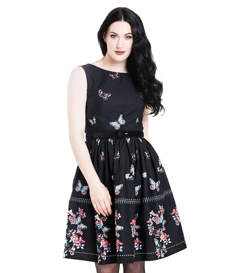 Hell-Bunny-50s-Mid-Length-Dress-Black-LAETICIA-Butterfly-Flowers-All-Sizes thumbnail 3