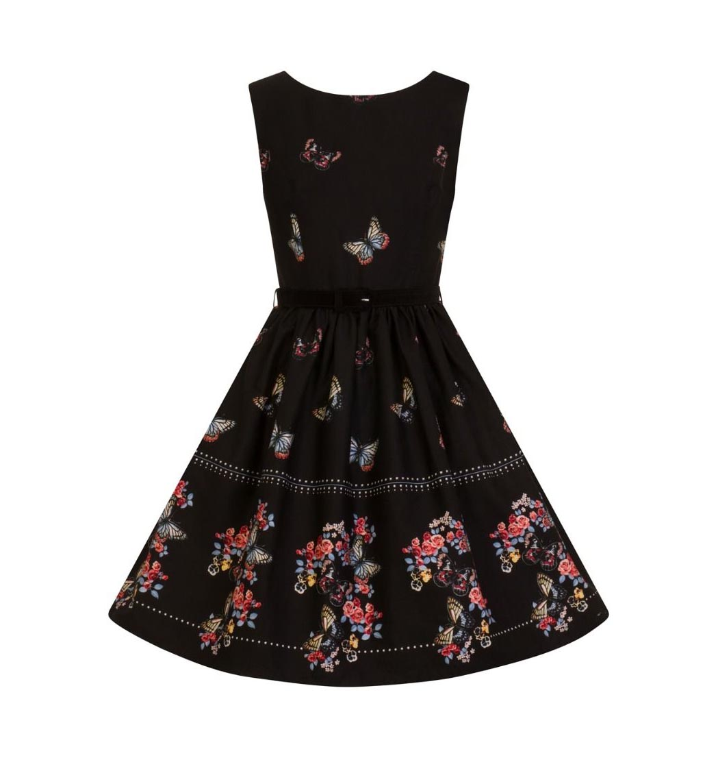 Hell-Bunny-50s-Mid-Length-Dress-Black-LAETICIA-Butterfly-Flowers-All-Sizes thumbnail 5