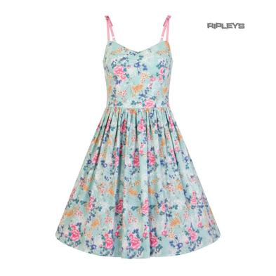 Hell Bunny 50s Mid Length Dress Vintage Blue Pink SAKURA Flowers Roses All Sizes