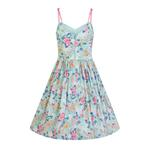Hell Bunny 50s Mid Length Dress Vintage Blue Pink SAKURA Flowers Roses All Sizes Thumbnail 4