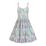 Hell Bunny 50s Mid Length Dress Vintage Blue Pink SAKURA Flowers Roses All Sizes Thumbnail 2