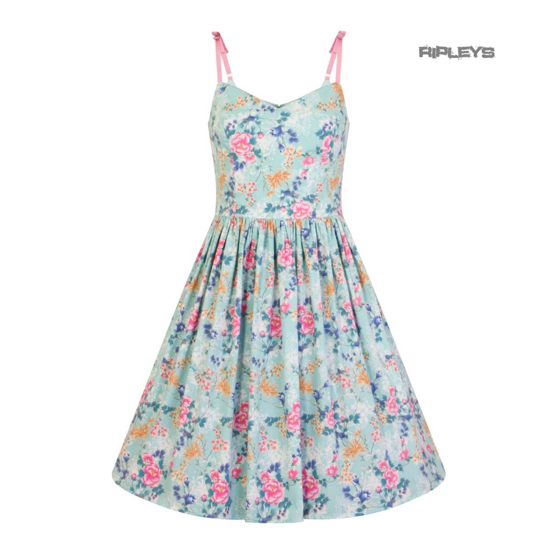 Hell-Bunny-50s-Mid-Length-Dress-Vintage-Blue-Pink-SAKURA-Flowers-Roses-All-Sizes thumbnail 17