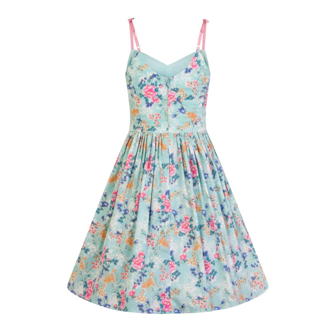 Hell-Bunny-50s-Mid-Length-Dress-Vintage-Blue-Pink-SAKURA-Flowers-Roses-All-Sizes thumbnail 5