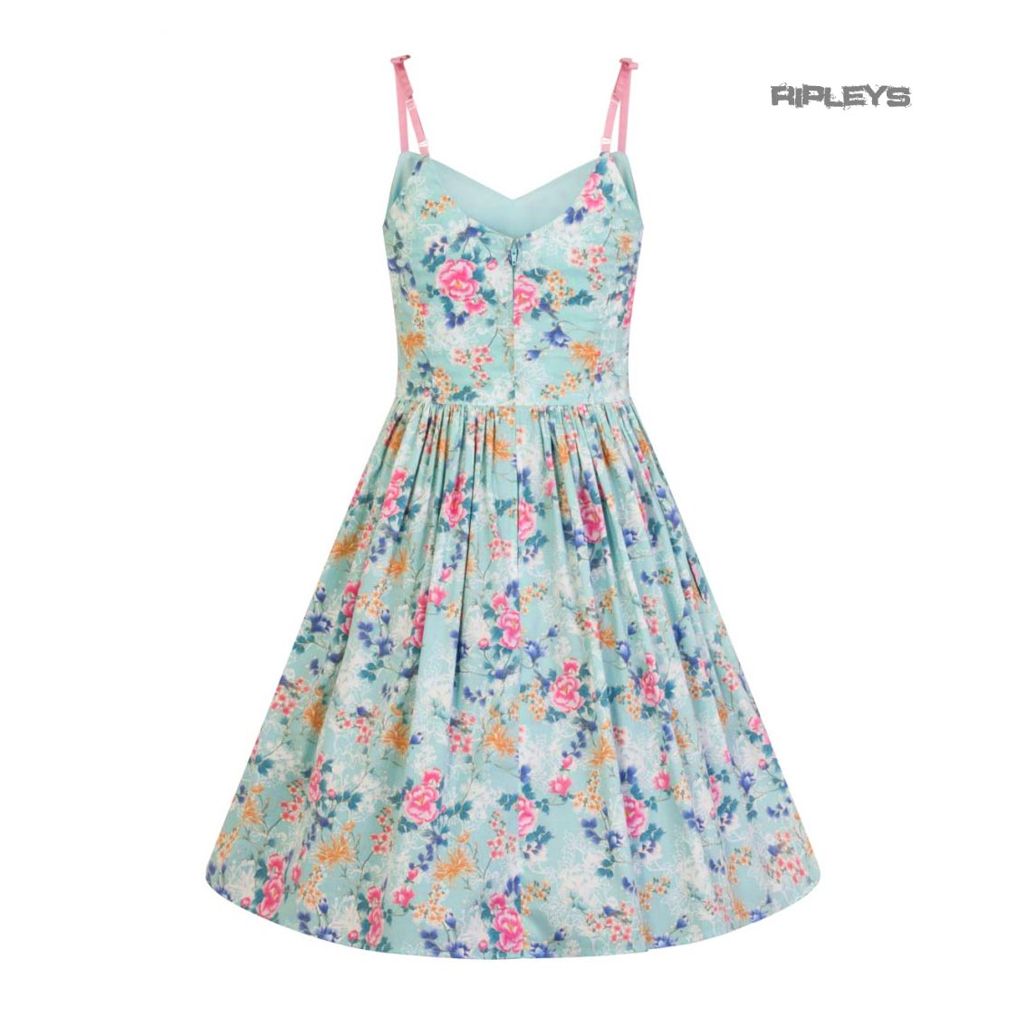 Hell-Bunny-50s-Mid-Length-Dress-Vintage-Blue-Pink-SAKURA-Flowers-Roses-All-Sizes thumbnail 4