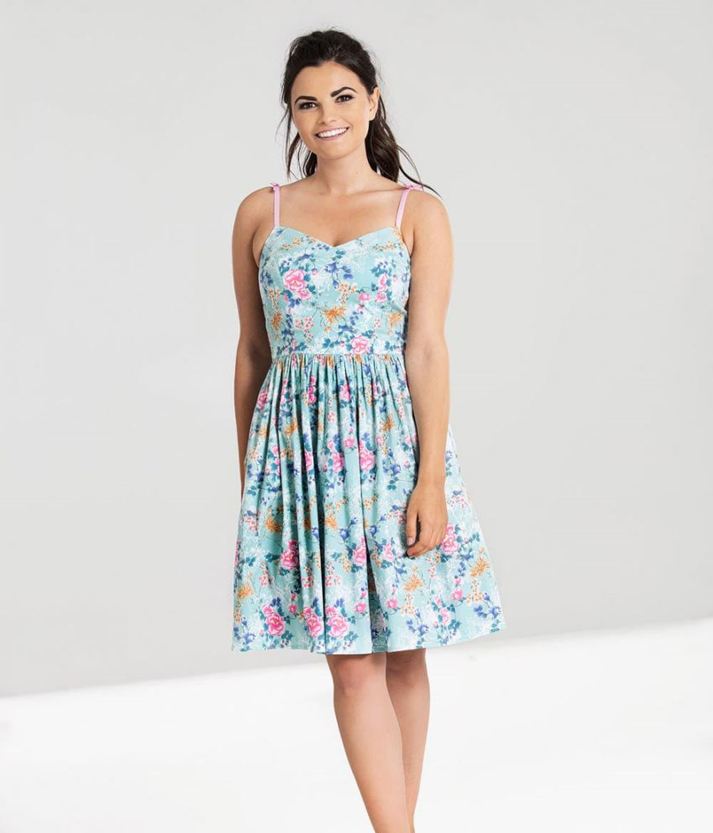 Hell-Bunny-50s-Mid-Length-Dress-Vintage-Blue-Pink-SAKURA-Flowers-Roses-All-Sizes thumbnail 6