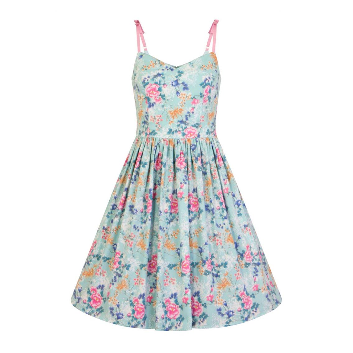 Hell-Bunny-50s-Mid-Length-Dress-Vintage-Blue-Pink-SAKURA-Flowers-Roses-All-Sizes thumbnail 3