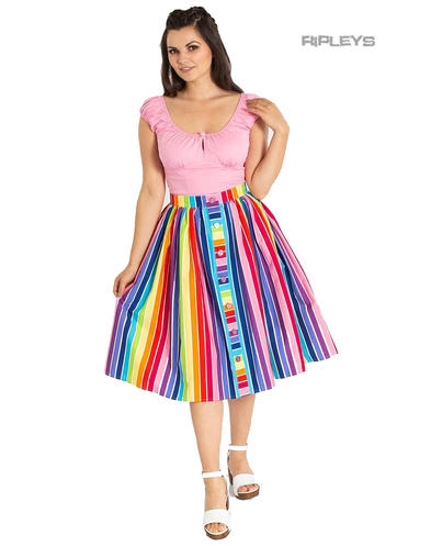 Hell Bunny Retro 50s Pin Up Skirt Harmony Over The RAINBOW Stripe All Sizes