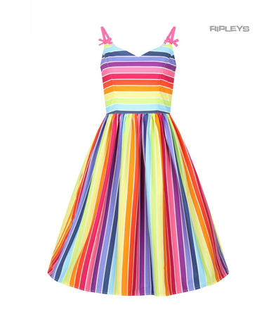 Hell Bunny Retro 50s Knee Length Dress Over The RAINBOW Stripe All Sizes
