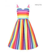 Hell Bunny Retro 50s Knee Length Dress Over The RAINBOW Stripe All Sizes Thumbnail 1