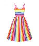 Hell Bunny Retro 50s Knee Length Dress Over The RAINBOW Stripe All Sizes Thumbnail 4