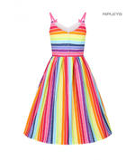 Hell Bunny Retro 50s Knee Length Dress Over The RAINBOW Stripe All Sizes Thumbnail 3